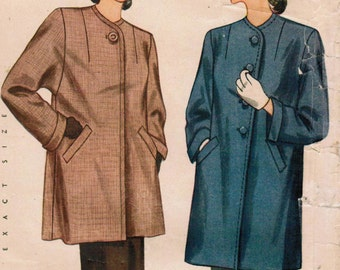 1940s Simplicity 1448 FF Vintage Sewing Pattern Misses' Coat Size 14 Bust 32