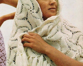 1970s Crochet Pattern PDF Misses Swirl Shawl One Size