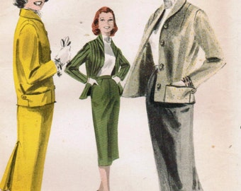 1950s Butterick 7901 Vintage Sewing Pattern Jr Miss and Misses Skirt and Jacket Sizes Bust 31.5 Bust 32 Bust 34