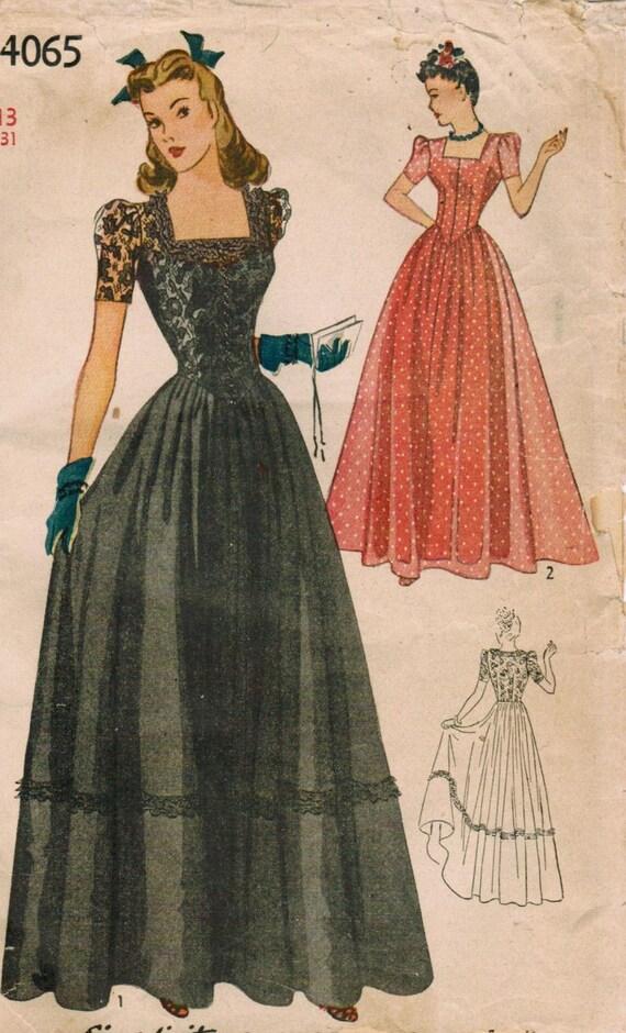 Vintage 1942 Simplicity 4065 Sewing Pattern Junior Misses' Dance Frock Size 13 Bust 31