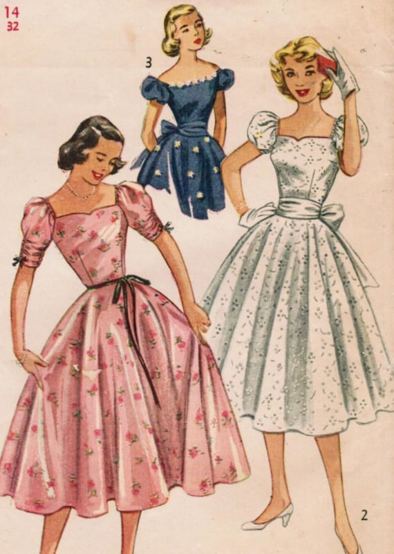Vintage 1952 Simplicity 4186 Sewing Pattern Misses' One-Piece Dress Size 14 Bust 32