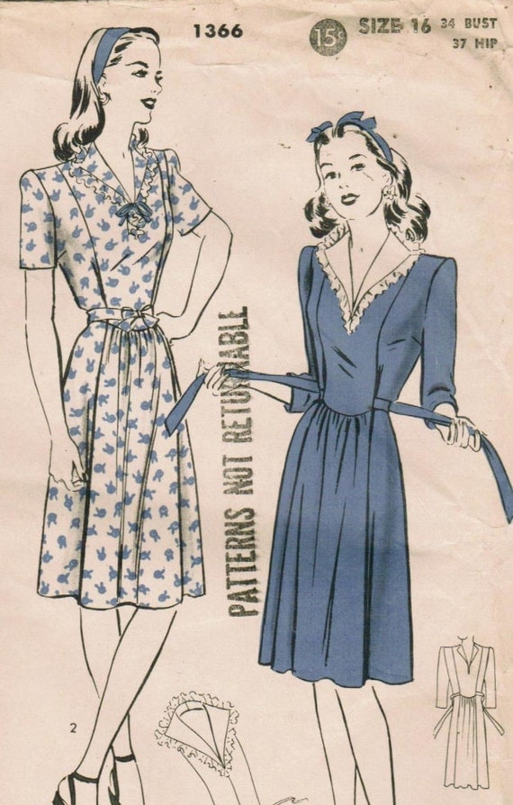 Vintage 1944 Hollywood 1366 Sewing Pattern Misses' Maternity Dress Size 16 Bust 34