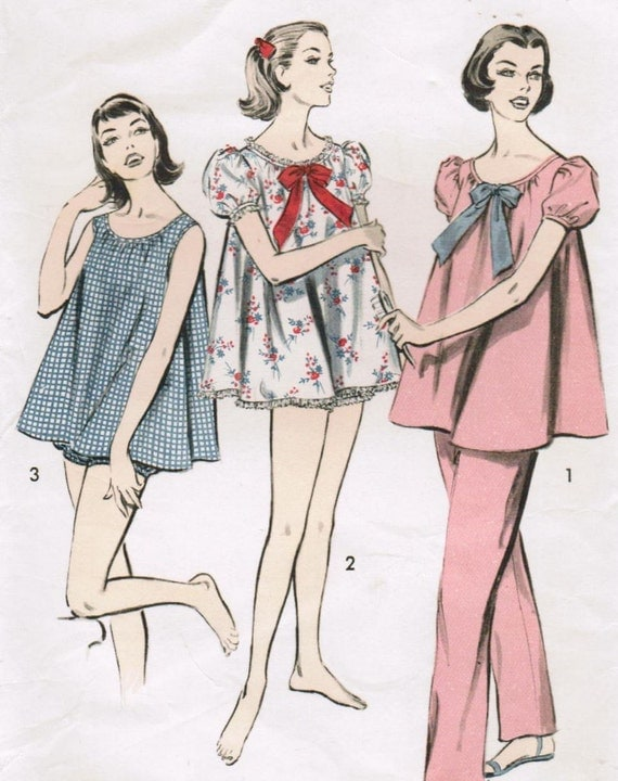 Vintage 1957 Advance 8489 Sewing Pattern Misses' Pajamas and Shortie Set Size Small