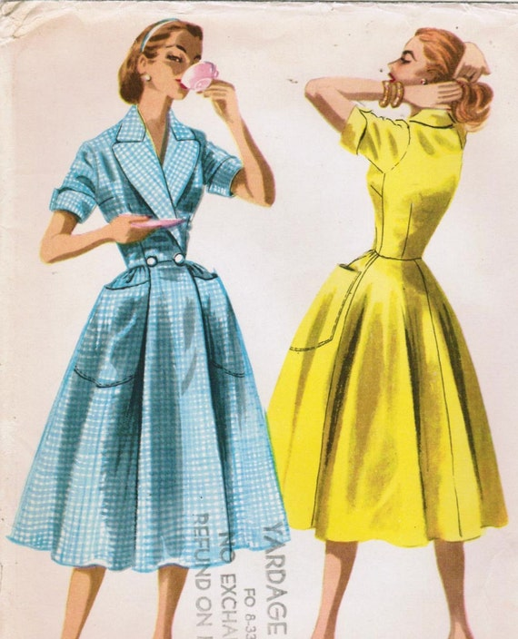 Vintage 1955 McCall's 3416 UNCUT Sewing Pattern Misses' Housecoat or Dress Size 12 Bust 30