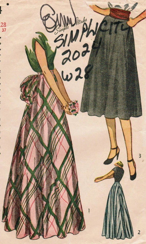 Vintage 1947 Simplicity 2024 Sewing Pattern Misses' Daytime and Evening Skirts Size Waist 28