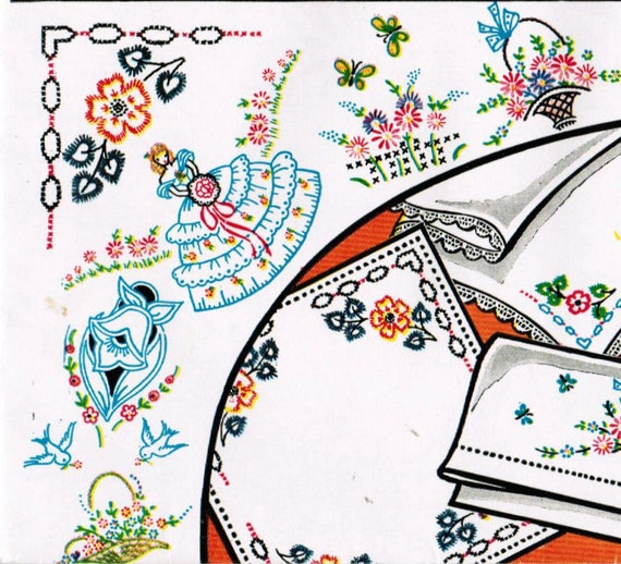 1950s Vogart 281 UNCUT Embroidery Transfer Pattern Assortment of Exciting Motifs for Varied Uses