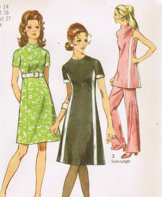 1970s Simplicity 9206 UNCUT Vintage Sewing Pattern Misses' Dress, Tunic and Pants Size 14 Bust 36