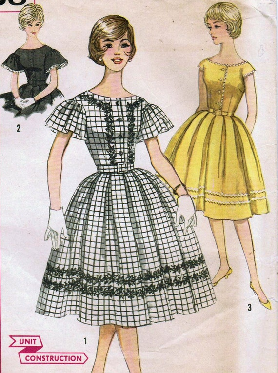1960s Simplicity 3338 Vintage Sewing Pattern Misses' One-Piece Dress Size 14 Bust 34