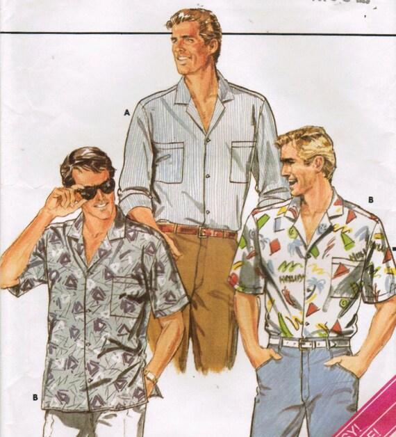 1980s Butterick 4315 Vintage Sewing Pattern Men's Shirt Size XS, S, M