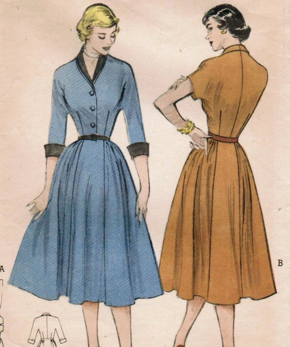 1950s Butterick 5867 Vintage Sewing Pattern Misses' One-Piece Dress Size 14 Bust 32