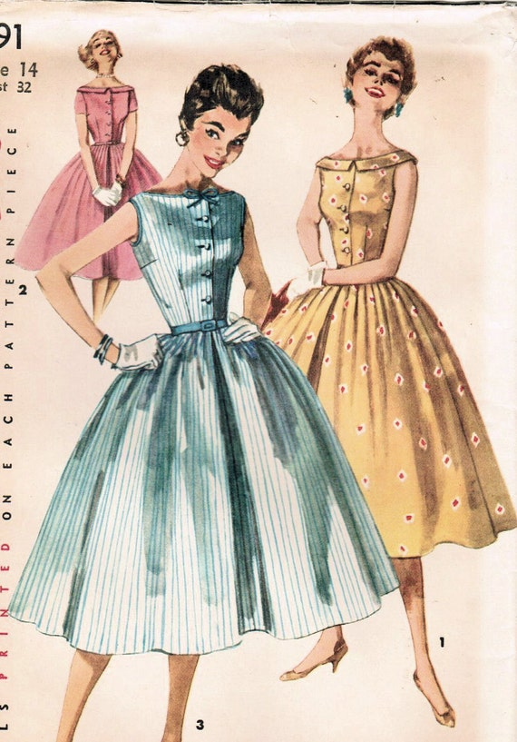 1950s Simplicity 1191 UNCUT Vintage Sewing Pattern Misses' One-Piece Dress Size 14 Bust 32