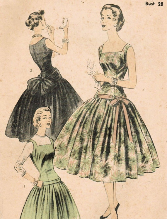 1950s Advance 7015 FF Vintage Sewing Pattern Misses' Party Dress or Jumper Size 10 Bust 28