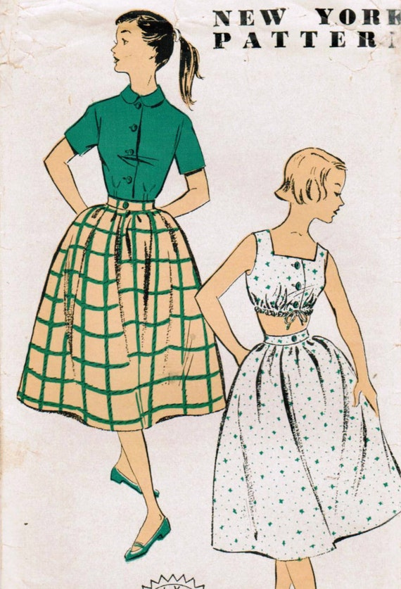 1950s New York 1386 Vintage Sewing Pattern Junior Misses' Skirt, Blouse, Midriff Top Size 15 Bust 33