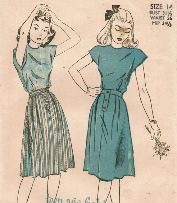 1940s Advance 4619 Vintage Sewing Pattern Teen's Blouse and Skirt Size 14 Bust 31-1/2