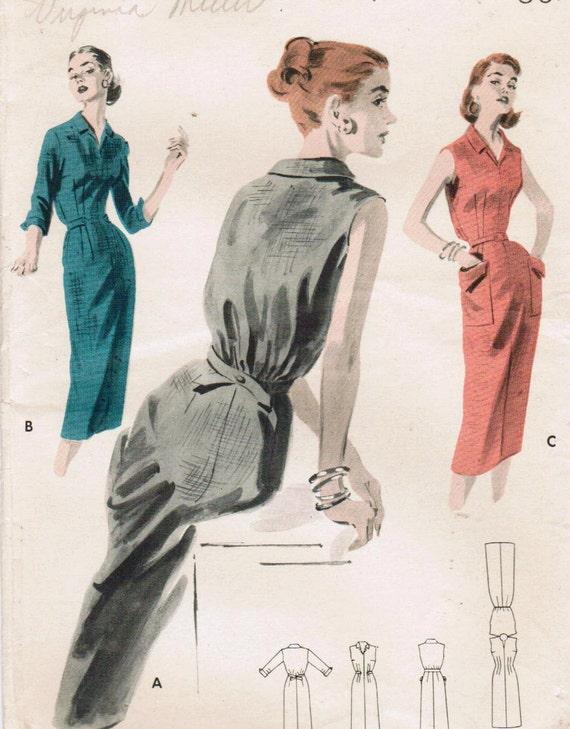 1950s Butterick 7781 UNCUT Vintage Sewing Pattern Misses' Sheath Size 16 Bust 34