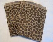 50 Paper Bags, Gift Bags, Cheetah Leopard Animal Print Paper Bags, Merchandise Bags, Retail Bags, Brown Paper Bags 5x7
