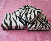 Gift Boxes, Zebra Animal Print, Jewelry Gift Boxes, Jewelry Gift Box, Black Boxes, White Boxes, Favor Boxes, Cotton Filled 3.5x3.5x1 Pack 20