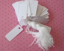 White Tags, Hanging Tags, Jewelry Price Tags, Jewelry Tag, Tags with String, Small Tags, Necklace Tags, Paper Tags 7/16 x 1 1/8 Pack of 100