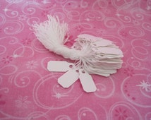 Price Tags, Jewelry Price Tags, White Jewelry Tags, Hanging Tags, Tags with String, Paper Tags, Small Tags, 3/8x7/8 Pack of 100