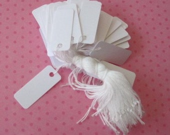 100 Jewelry Price Tags, White Tags, Hanging Tags, Tags with String, Clothing Tags, Small Tags 7/16 x 1 1/8