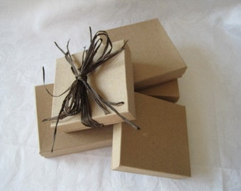 10 Kraft Jewelry Gift Boxes Cotton Filled