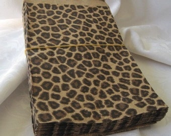 100 Paper Bags, Gift Bags, Merchandise Bags, Retail Bags, Party Favor Bags, Candy Bags, Cheetah Leopard Print, Animal Print Party, 6x9