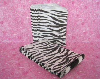 100 Paper Bags, Gift Bags, Merchandise Bags, Retail Bags, Candy Bags, Zebra Animal Print, Party Favor Bags, Black Stripes 5x7