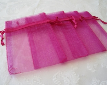 20 Drawstring Bags, Hot Pink Bags, Organza Bags, Jewelry Gift Bags, Wedding Favor Bags, Sachets, Fabric Bags, Drawstring Pouch 3x4
