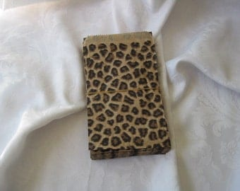 100 Paper Bags, Gift Bags, Cheetah Animal Print, Merchandise Bags, Retail Bags, Party Favor Bags, Brown Paper Bags, Small Paper Bags 4x6