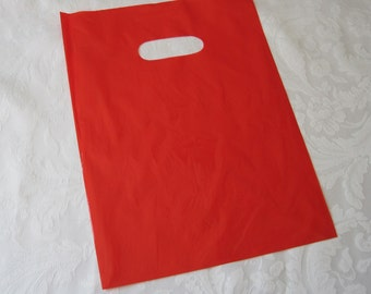 Gift Bags, Plastic Bags, Red Plastic Bags, Merchandise Bags, Shopping Bags, Party Favor Bags, Red Bags, Bags with Handles 9x12 Pack 100