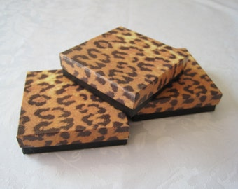 Gift Boxes, Jewelry Boxes, Cheetah Leopard Animal Print, Favor Boxes, Cotton Filled 3.5x3.5x1 Pack 10