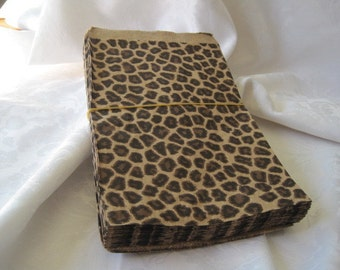 100 Paper Bags, Cheetah Leopard Animal Paper Bags, Party Favor Bags, Retail Merchandise Bags 5x7