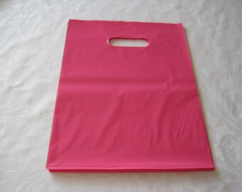 Pink Plastic Bags, Gift Bags, Favor Bags, Bags with Handles, Merchandise Bags, Shopping Bags 12x15 Pack 50