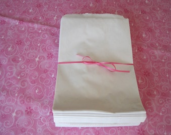 100 White Paper Bags, Gift Bags, Kraft Bags, Paper Gift Bags 6x9
