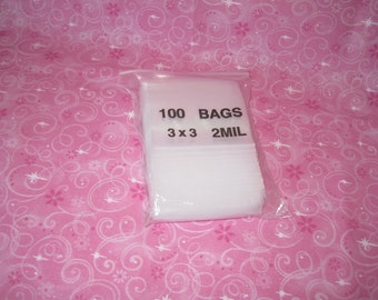 100 Clear Plastic Bags, Reclosable Bags, Poly Bags, Ziplock Bags, Plastic Baggies, Small Plastic Bags, Jewelry Bags 3x3