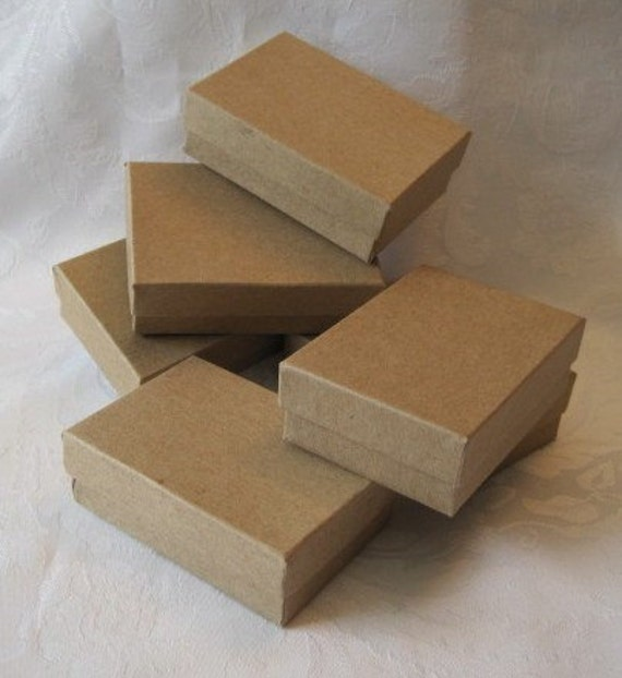 Kraft Jewelry Gift Boxes 3 x 2 1/8 x 1  Pack 10