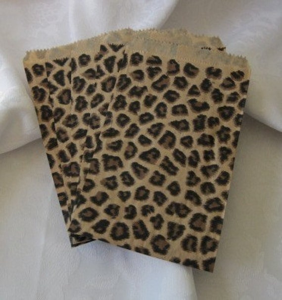 50 Paper Bags, Gift Bags, Cheetah Leopard Print, Animal Print, Merchandise Bags, Retail Bags, Brown Paper Bags, Small Paper Bags 4x6
