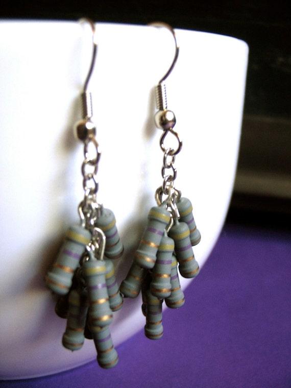Resistor Cluster Earrings in Grey - Handmade Geekery Geek Chic Jewelry