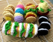 Miniature Crochet Pattern- SUPER SIZE FOOD- Cell Phone Charm  (00344)