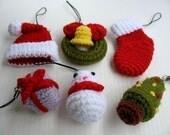 Miniature Crochet Pattern- CHRISTMAS- Cell Phone Charm  (00347)