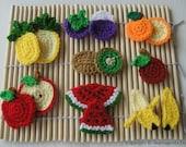 Crochet Pattern - FRUIT APPLIQUE 1 - PDF  (00384)