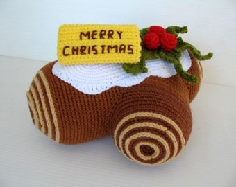 Crochet Pattern-CHRISTMAS LOG CAKE-deco/toys  (00361)