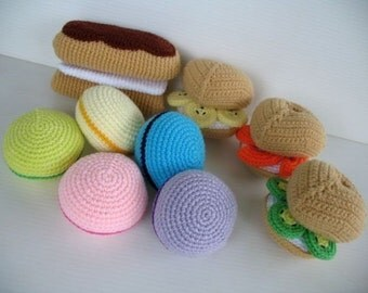 Crochet Pattern - MACAROON, ECLAIR and PUFF- Toys / Playfood - in pdf  (00365)