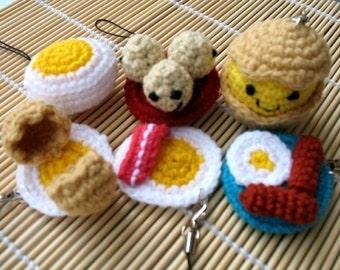 Miniature Crochet Pattern- EGGS- Cell Phone Charm  (00337)