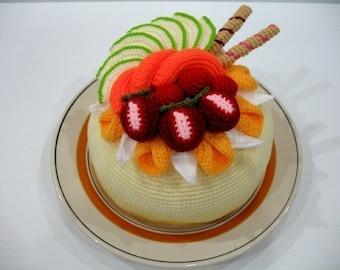 Crochet Pattern- Tasty FRUIT CAKE-Play Food/Toys PDF (00372)