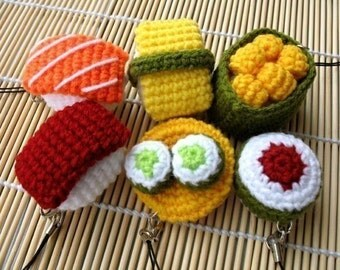 Miniature Crochet Pattern- SUSHI- Cell Phone Charm  (00339)