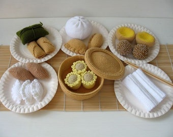 Crochet Pattern - DIM SUM- Toys / Playfood - PDF  (00443)