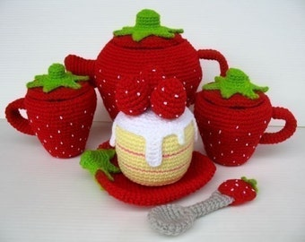 Crochet Pattern - STRAWBERRY TEA SET- Toys - pdf  (00448)