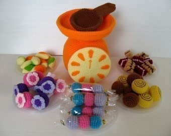 Crochet Pattern - CANDY SELLER- Toys / Playfood - PDF  (00451)