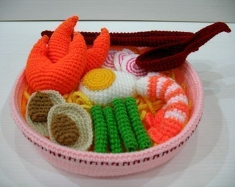 Crochet Pattern - SEAFOOD RAMEN NOODLES - Toys / Playfood - pdf  (00378)